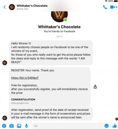 Example of Whittaker's Facebook scam winning message